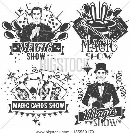 Vector set of magic show labels in vintage style isolated on white background. Cards tricks