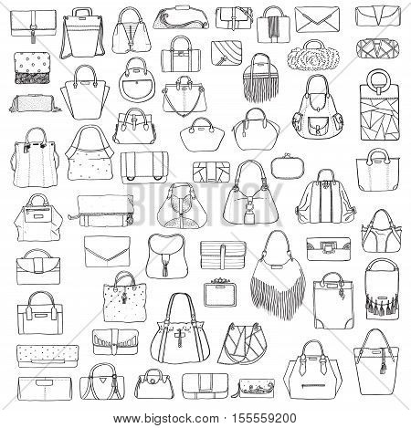 Large vector set of black and white doddle fashion bags hand drawn with black ink isolated on white background. Illustration with group of various handbag purse pouch satchel clutch bag.