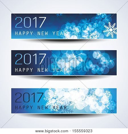 Set of Blue Sparkling Horizontal Christmas, New Year Banners - 2017