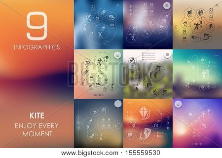 kite vector infographics with unfocused blurred background