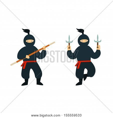 Cartoon Ninja Set. Flat Design Style. Different Combative Poses. Vector illustration