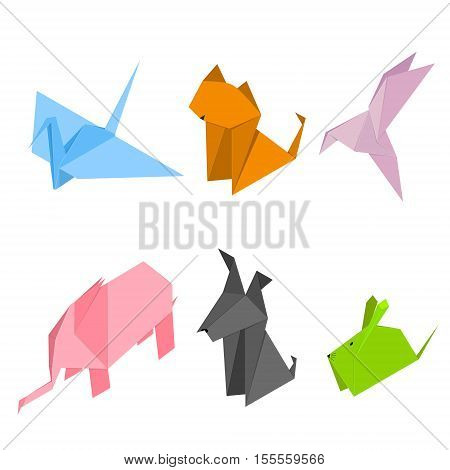 Color Origami Animals Set of Paper Japan Craft Isometric View. Vector illustration
