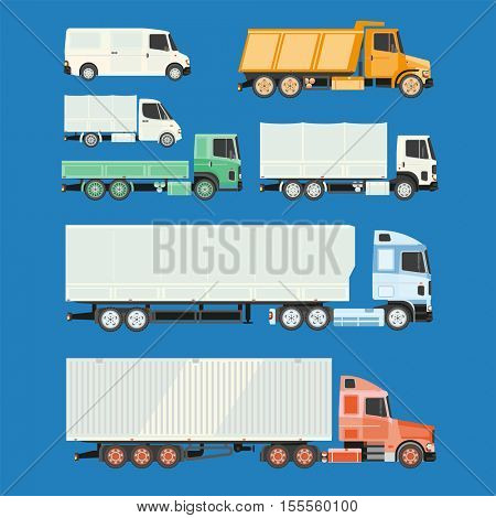 Trucks and trailers. Delivery logistic and shipping cargo trucks and semi-trucks. For infographics or design on a white background.