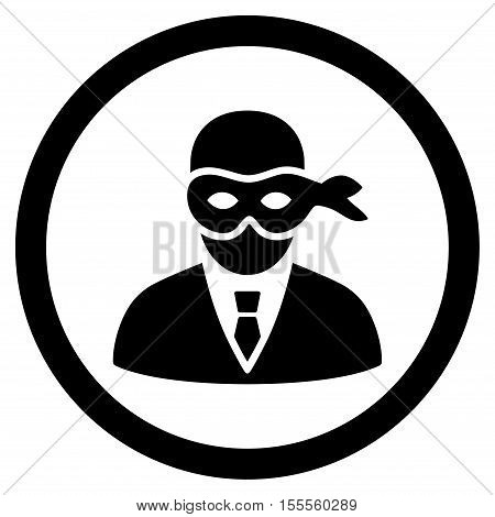 Masked Thief rounded icon. Vector illustration style is flat iconic symbol, black color, white background.