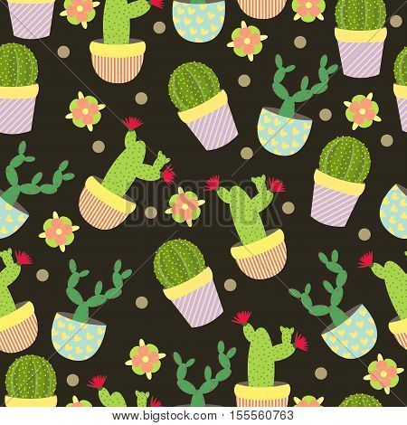 Cute Cacti, Flowerpots. Seamless Pattern With Cute Cacti. Nature,spring.
