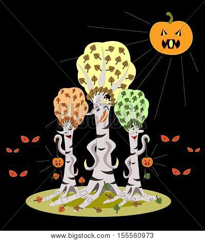 Three terrible birches with small lamps pumpkins