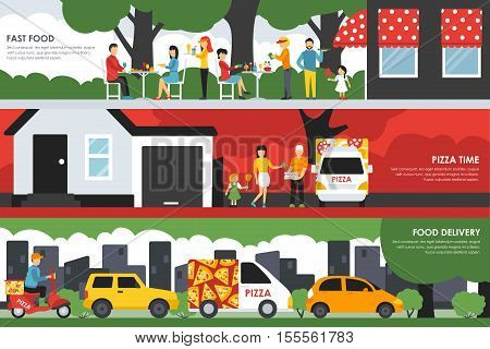 Fast Food, Pizza Time and Delivery flat concept web vector illustration. People, Visitors, Waiters, Deliveryman, Scooter, Car. Pizzeria presentation.