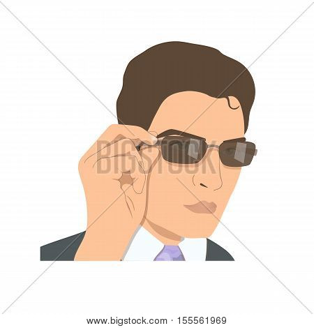 Face of attractive young man in sun glasses. Businessman rearranging brown spectacles.