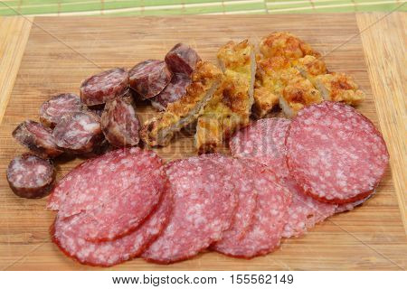 Different Meat Products (sausages, Salami, Breaded Chicken Breast) Arranged On A Wood Trencher. Rust