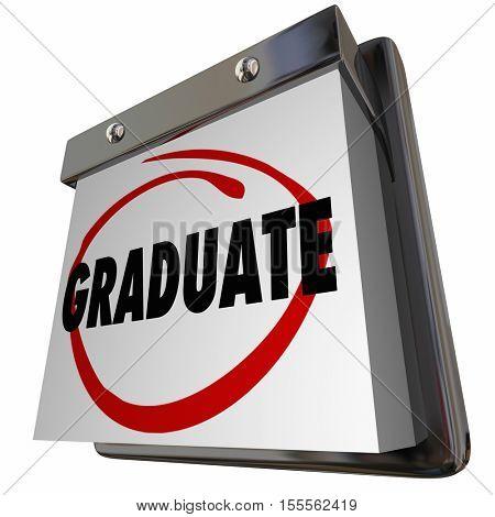 Student Graduate School Education Graduation Calendar 3d Illustration
