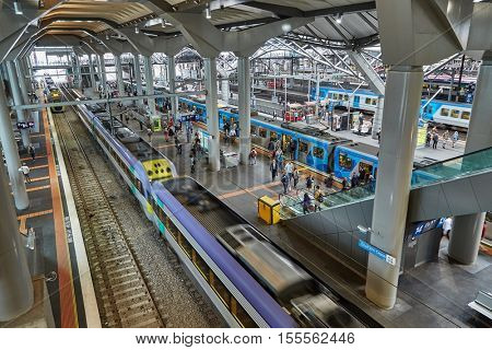 MELBOURNE, AUSTRALIA - MARCH 9, 2014: The Southern Cross railway terminal is one of the most important transportation hubs in Victoria, Australia