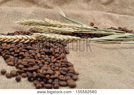 Roasted Coffee Beans On Brown Jute Background, With Several Threads Of Wheat On It. Rustic Image. Mo