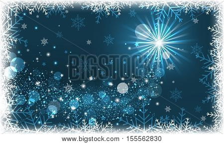 Winter scenery on a blue background with glitter and snowflakes.