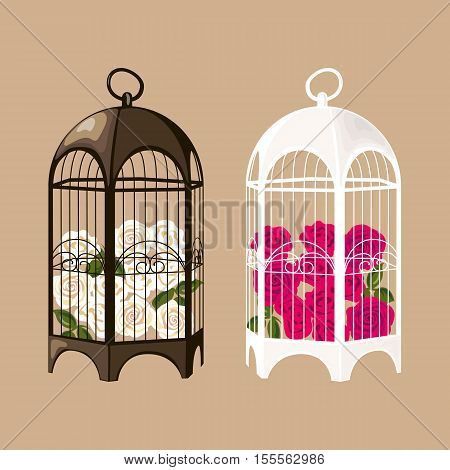 Set of decorative black and white birdcages with roses. Vector EPS10