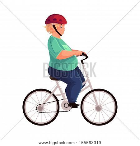 Fat boy in helmet cycling, riding a bicycle, cartoon vector illustration isolated on white background. Obese, fat, chubby kid cycling, doing sport, getting fit, active lifestyle