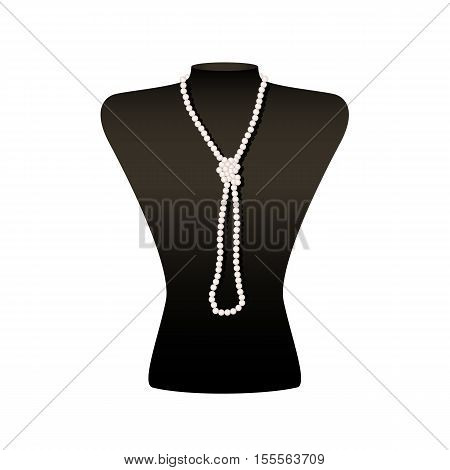 Long pearl necklace with knot on a black jewelry bust.