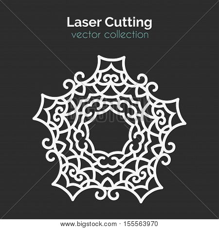 Laser Cutting Template. Round Card. Die Cut Mangala. Cutout Illustration With Ornamental Lace Decoration For Wedding Invitation Cards. Vector Design.