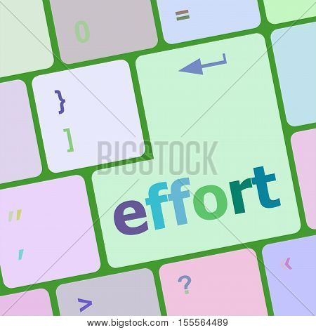 Effort Word On Keyboard Key, Notebook Computer Button