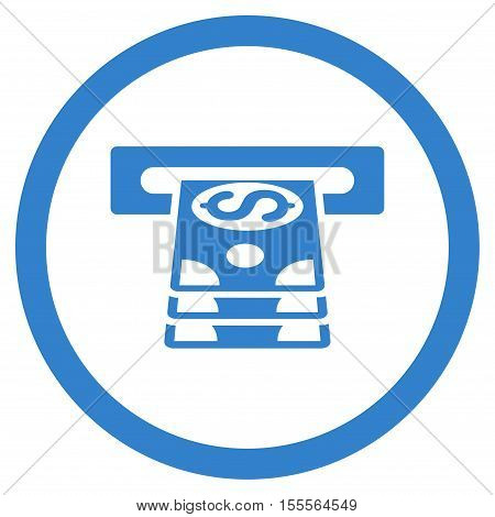 Bank Cashpoint rounded icon. Vector illustration style is flat iconic symbol, cobalt color, white background.