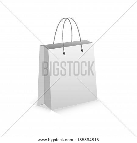 Realistic White Empty Bag for Shoping with Shadow. Isolated on white. Vector Eps 10.