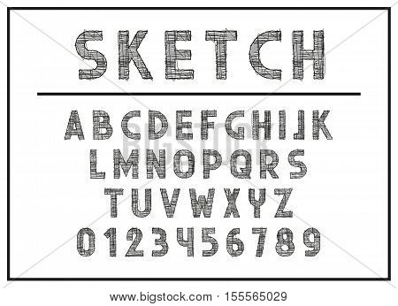 Sketch Font and abc letters print typography vector Illustration. Retro type font, vintage alphabet. Font english lowercase letters