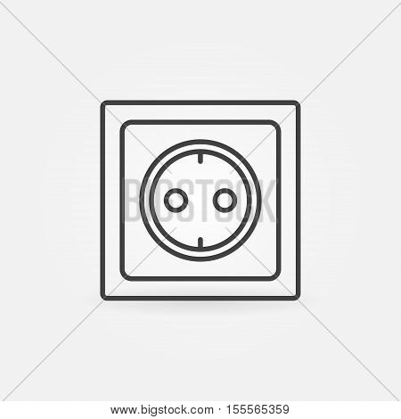 Power socket linear icon. Vector minimal electric household socket symbol or logo element in thin line style