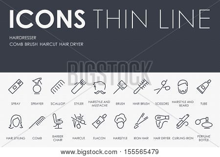 Thin Stroke Line Icons of Hairdresser on White Background