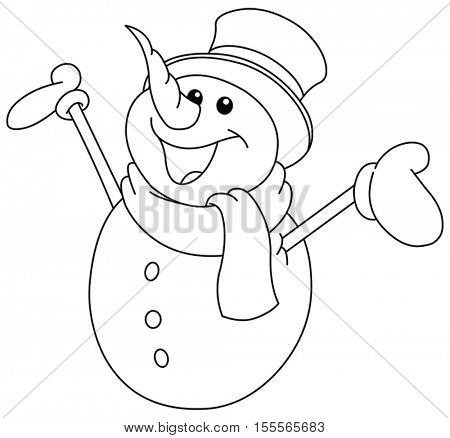 Outlined happy snowman looking up and raising his arms. Vector illustration coloring page.