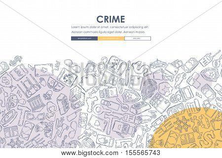 crime Website Template Design with Doodle Background