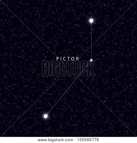 Sky Map with the name of the stars and constellations. Astronomical symbol constellation pictor