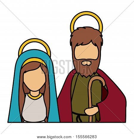 Mary and joseph icon. Holy night family christmas and betlehem theme. Isolated design. Vector illustration