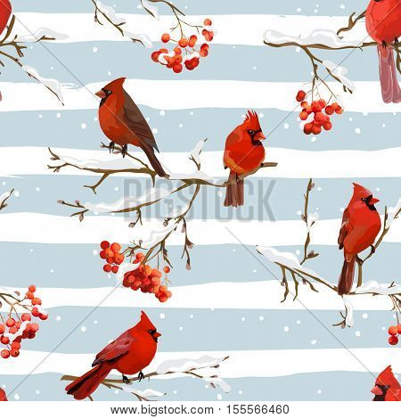 Winter Birds with Rowan Berries Retro Background - Seamless Pattern - in vector