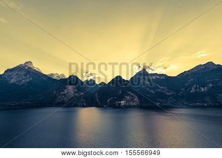 Evening in the Alps. Mountainous landscape wide lens. Abstract color.