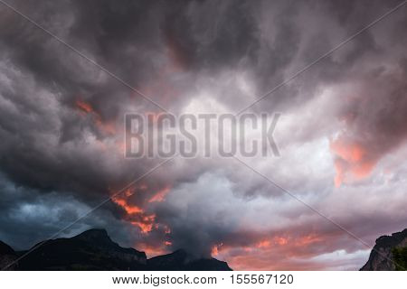 Terrible sky during a storm. Switzerland, Uri.