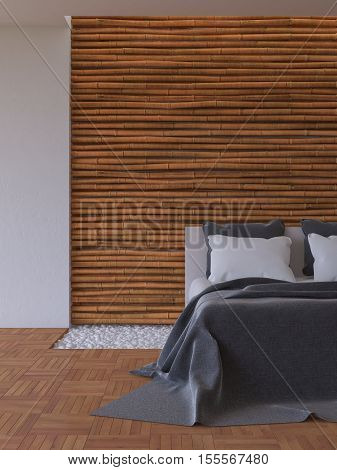 3Ds Bed And Bamboo Wall