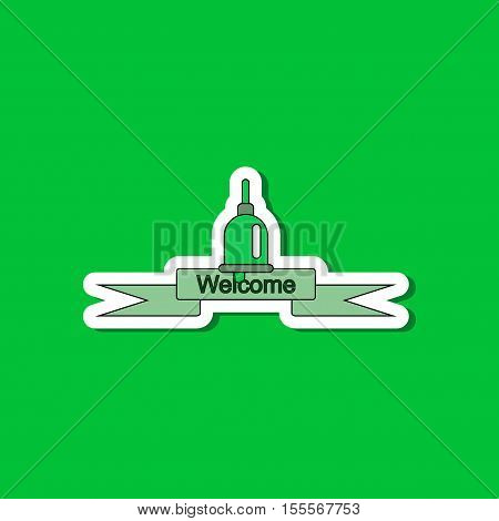 paper sticker on stylish background of school bell
