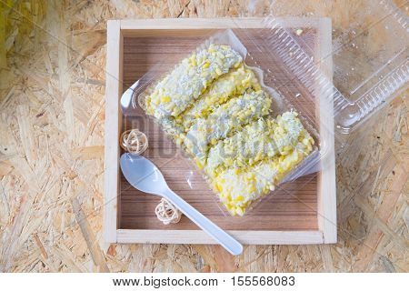 Mung bean rice-crepe Thai dessert Mock bean pods Thai sweetmeat foods.
