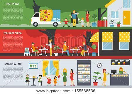 Hot Italian Pizza and Snack Menu flat concept web vector illustration. People, Visitors, Waiters, Deliveryman, Car. Pizzeria interior presentation.