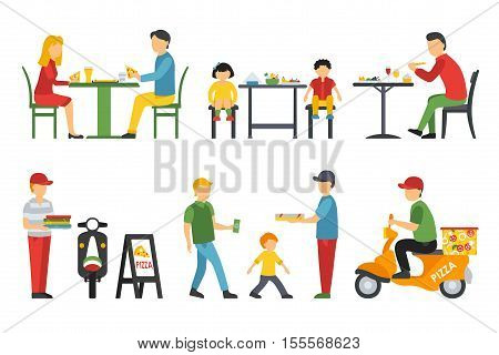 People in a flat interior. Pizza icons set. Deliveryman, Customers, Bistro, Waiters, Delivery. Pizzeria conceptual web vector illustration.