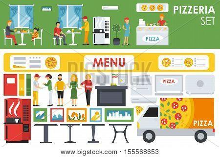Big detailed Pizzeria Interior flat icons set. Menu, Waiters, Chairs, Deliveryman, Tables. Pizza conceptual web vector illustration.
