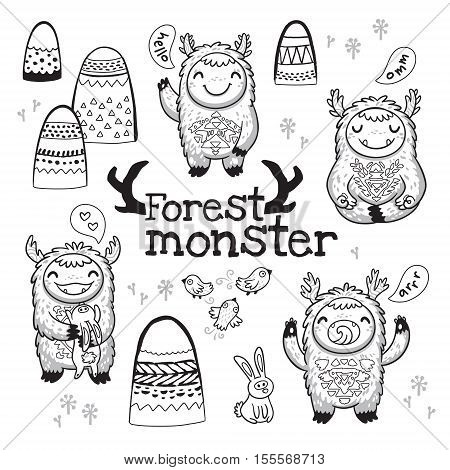 Black and white vector illustration. Hand drawn cute monsters with mountains, birds and hares. Outline imaginary characters design elements set isolated on white background