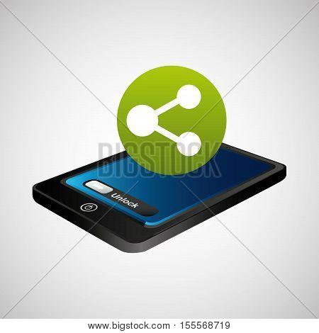 smartphone blue screen unlock sharing vector illustration eps 10