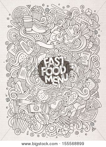Cartoon cute doodles hand drawn Fastfood illustration. Line art detailed, with lots of objects background. Funny vector artwork. Sketch picture with fast food theme items