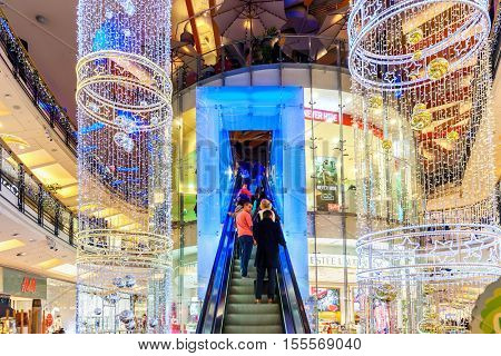 PRAGUE, CZECH REPUBLIC - DECEMBER 10, 2015: Palladium mall decorated for Christmas - one of the biggest centers in Prague, popular shopping destination with 5 floors, 184 shops and 23 restaurants.
