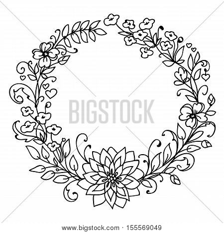 Floral wreath. Merry Christmas and New Year concept. Wreath of branches and flowers . Black and white illustration isolated on white background. Simple art graphic design