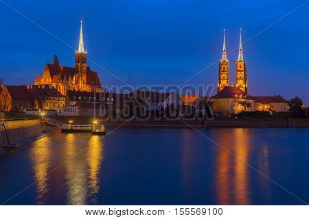Night scenery of island Tumski in Wroclaw, Poland