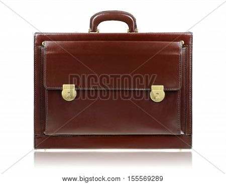 Brown Leather Briefcase Isolated On The White Background
