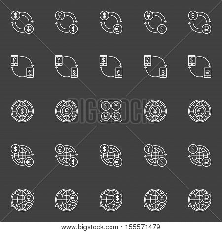Money convert vector icons. Dollar, Euro, Pound, Ruble and Yen currency exchange outline signs. USD, EUR, GBP, RUB and JPY concept linear symbols on dark background