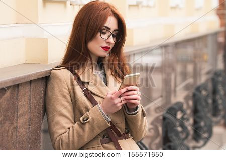 Young Business Girl Cutting In A Glasses On A Beautiful Street. Have A Nice Day. Hew Message