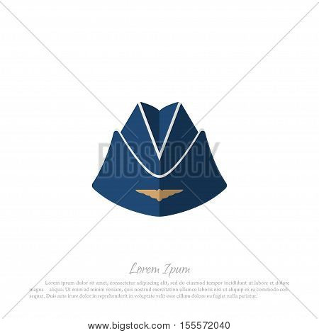 Headgear stewardess civil aircraft. Drawing in a flat style on a white background. Vector illustration
